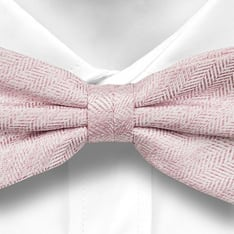 Notch Lawrence bow tie in silver and pink herringbone